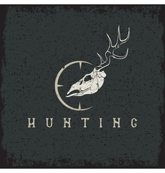 Grunge deer skull with target design template vector
