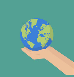 Hand with earth globe vector