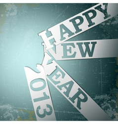 Happy New Year paper strips with shadows on grunge vector image vector image