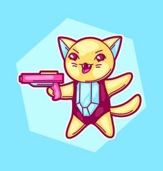japanese anime cosplay cat cute kawaii character vector image vector image