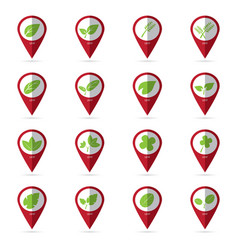 leaf icons with location icon vector image