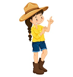 Little girl wearing hat and boots vector image vector image