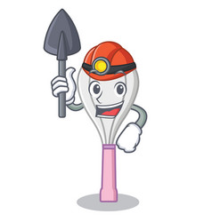 Miner whisk character cartoon style vector