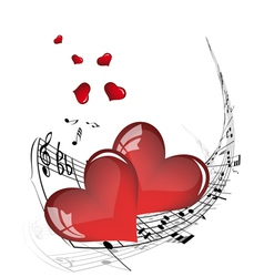 musical valentines day background vector image