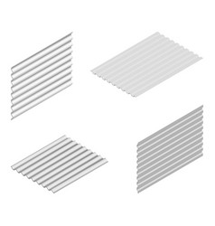Sheet of wave slate and steel profile in isometric vector