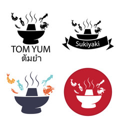 Tom yum sukiyaki spicy hot pot logo icon vector