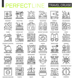 Travel cruise outline concept symbols perfect vector