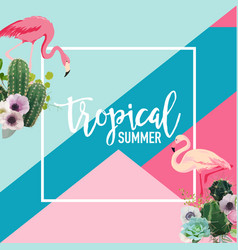 tropical cactus and flamingo birds summer banner vector image vector image