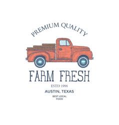 Vintage farm food logo engraved logo vector