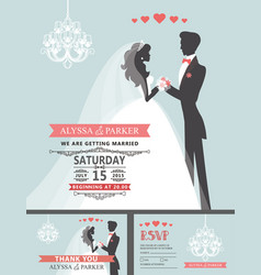 Wedding invitation with cartoon bridegroom vector