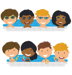 Young multiracial teens having fun in outdoor vector