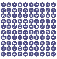 100 bbq icons hexagon purple vector