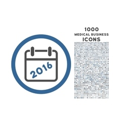 2016 calendar rounded icon with 1000 bonus icons vector