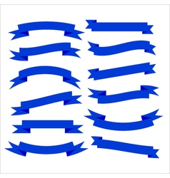 Set of beautiful festive blue ribbons vector image