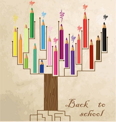 Tree shaped made of colored pencils vector