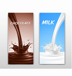 Realistic splash of pouring chocolate and milk vector