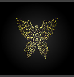 Luxury butterfly sign ornamental gold design vector