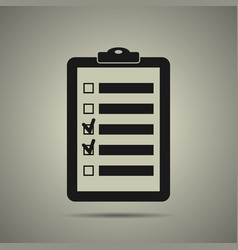 Checklist icon in black and white style vector