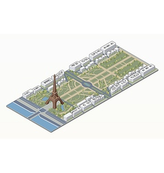 Isometric eiffel tower and champ de mars vector