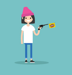 Young female character holding a toy gun with a vector