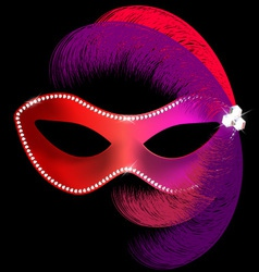 Red carnival mask with feathers vector