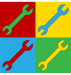Pop art spanner icons vector