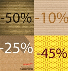10 25 45 icon set of percent discount on abstract vector