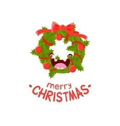 Wreath cheerful christmas card vector