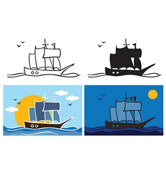 Pirate ship at night vector