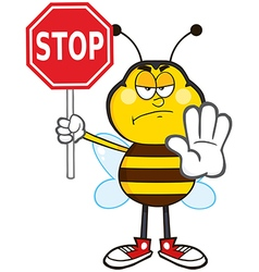 Angry Traffic Wardon Bumble Bee Cartoon vector image
