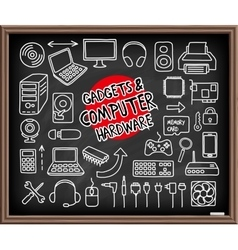 Doodle computer hardware icons vector