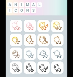 Cute animal icons vector