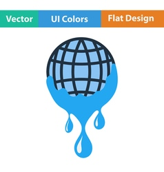 Planet with flowing down water icon vector
