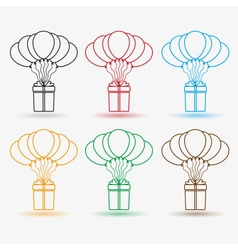 Gift package soaring with helium balloons outline vector