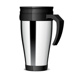 Shiny metal travel thermo-cup vector