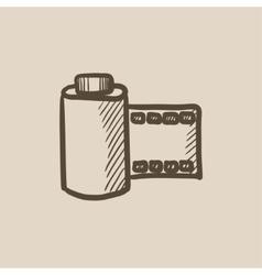 Camera roll sketch icon vector