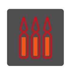 Ampoules rounded square button vector