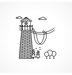 Black icon for rope jumping tower vector