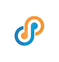 blue orange infinity logo template vector image
