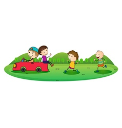 boys and car vector image vector image