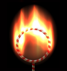 Burning circus hoop vector image vector image