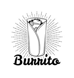 burrito mexican traditional cuisine vector image
