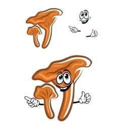 Cartoon chanterelle mushroom with happy face vector