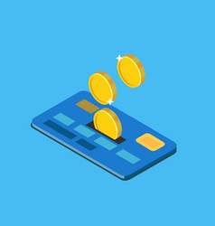 coins discounted on credit card vector image vector image