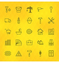 Construction Tools Line Icons Set over Polygonal vector image vector image
