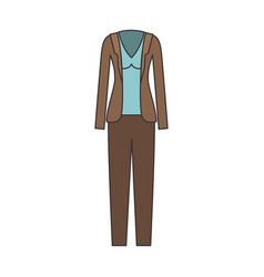 Female clothes with pant and blouse and waistcoat vector