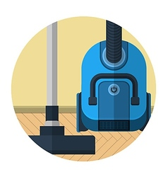 Flat icon for vacuum cleaner in room vector