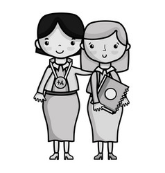 grayscale teacher with student to class education vector image vector image