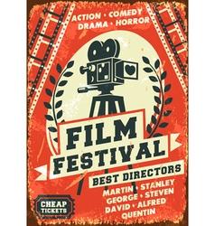 Grunge retro film festival poster vector