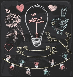 Hand drawn chalk romantic elements set vector